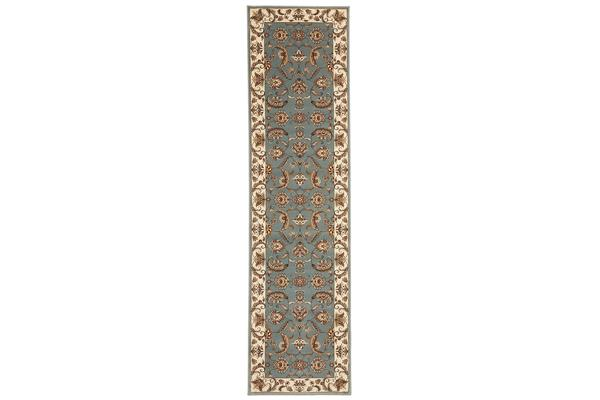 Stunning Formal Floral Design Rug Blue 300x80cm