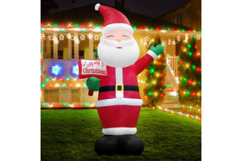 Jingle Jollys Inflatable Christmas 3.6M Greeting Santa Xmas Lights Outdoor Decor