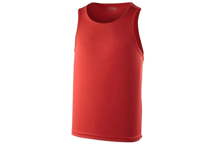 Just Cool Mens Sports Gym Plain Tank / Vest Top (Fire Red) (2XL)