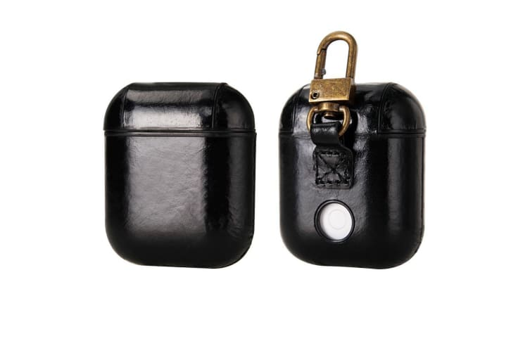 For Apple AirPods 1/2 Case  Genuine Leather Shockproof Box  Black with Hook