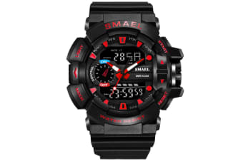 Mens Sport Quartz Digital Watch Blackred