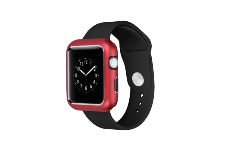 Case For Apple Watch Series 4 Magnet Adsorption Cover Ultra Thin Metal Frame Red 44Mm