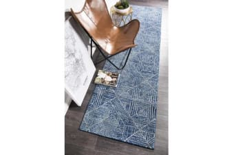 Amelia Navy & Grey Coastal Durable Runner Rug 300x80cm