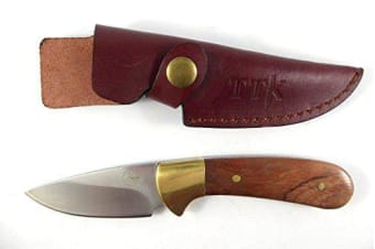 "Tassie Tiger Knives Hunting Knife 3"" Fixed Blade Skinner w/ Leather Sheath"