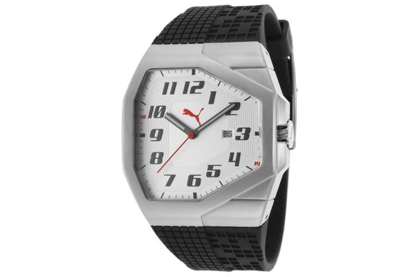 Puma Men's Take Pole Position Silver Dial Black Rubber (PUMA-PU910561006)