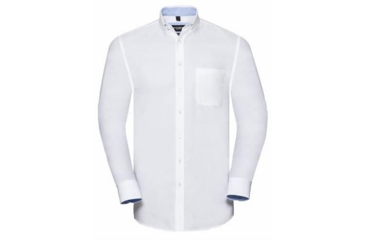 Russell Collection Mens Long Sleeve Tailored Oxford shirt (White/Oxford Blue) (S)