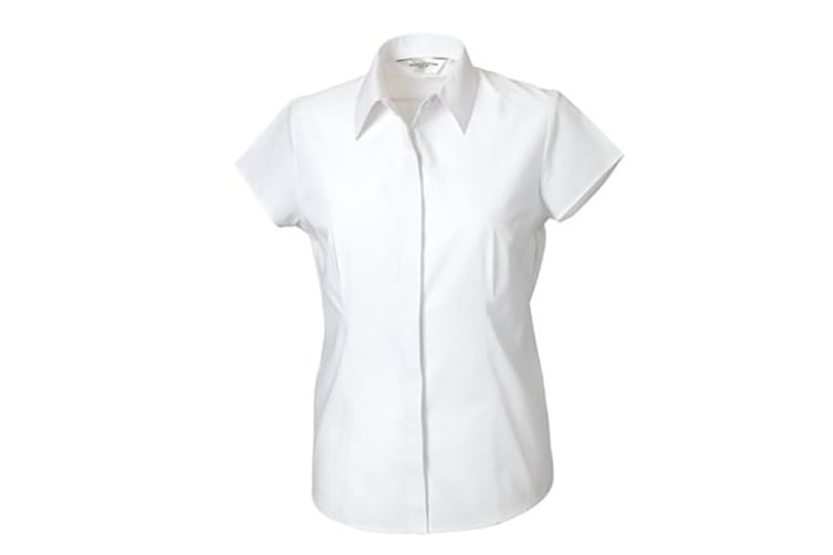 Russell Collection Ladies Cap Sleeve Polycotton Easy Care Fitted Poplin Shirt (White) (XS)