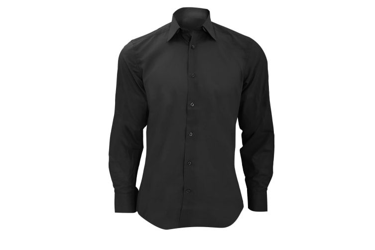 Russell Collection Mens Long Sleeve Poly-Cotton Easy Care Tailored Poplin Shirt (Black) (L)