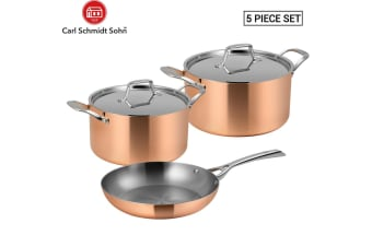 Lassani LASSANi tri-ply copper Set of 5 Cookware Frypan 20cm Casserole 20/24cm