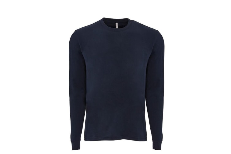 Next Level Adults Unisex Suede Feel Long Sleeve Crew T-Shirt (Midnight Navy) (M)