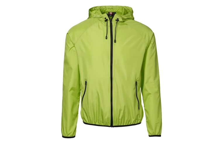 ID Mens Lightweight Fitted Windbreaker Jacket With Packaway Bag (Lime) (XL)