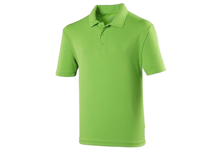 Just Cool Kids Unisex Sports Polo Plain Shirt (Lime) (3-4 Years)