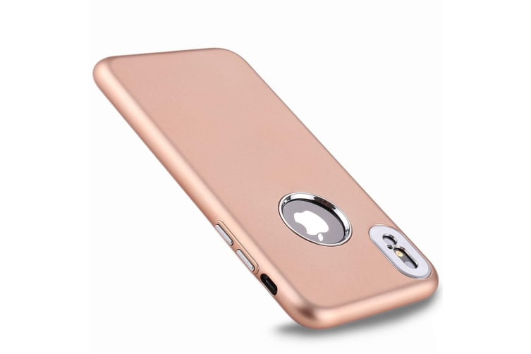For iPhone XS X Back Case Styled Metal Button High-Quality Protective Cover Gold