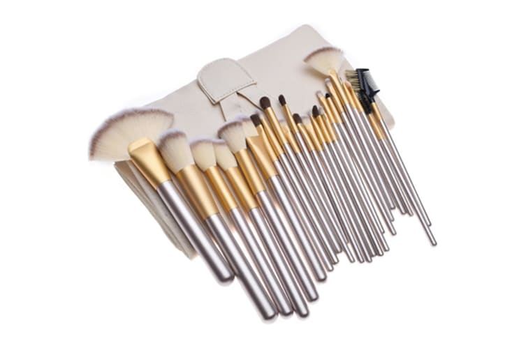 24pcs Champagne Color Makeup Brushes Kit Professional Cosmetic Make Up Set with Beige Pouch Bag  Y000068