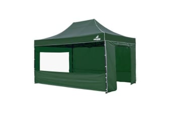 3x4.5m Gazebo Frame + Roof + Side Cover - GREEN