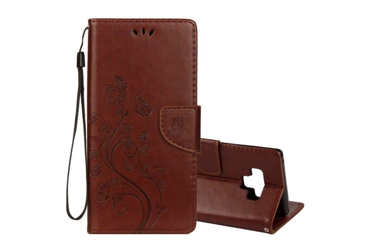 For Galaxy Note 9 Case Brown Embossed Butterfly Pattern Folio Leather Cover