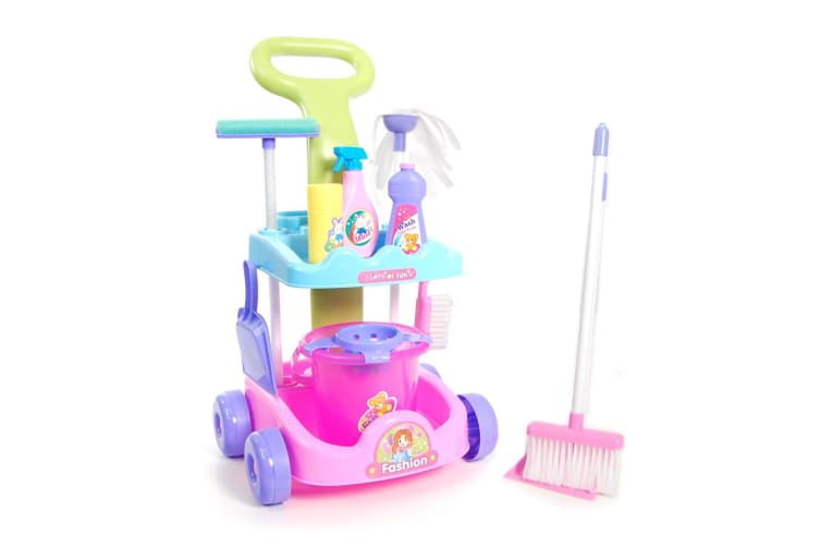 Multi-Coloured Cleaning Trolley Kids Cleaner Play Set with Accessories