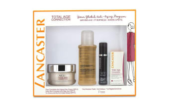 Lancaster Total Age Correction Set: Anti-Aging Day Cream 50ml+ Serum Youth Renewal 10ml+ Retinol-In-Oil 3ml+ Express Cleanser 100ml 4pcs