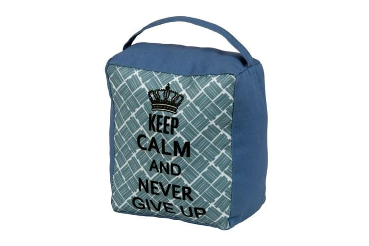 SupaHome 'Keep Calm and Never Give Up' Door Stop (Blue) (One Size)