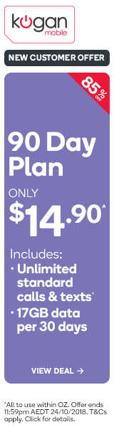 Kogan Mobile Prepaid Voucher Code: LARGE (90 Days | 17GB Per 30 Days)