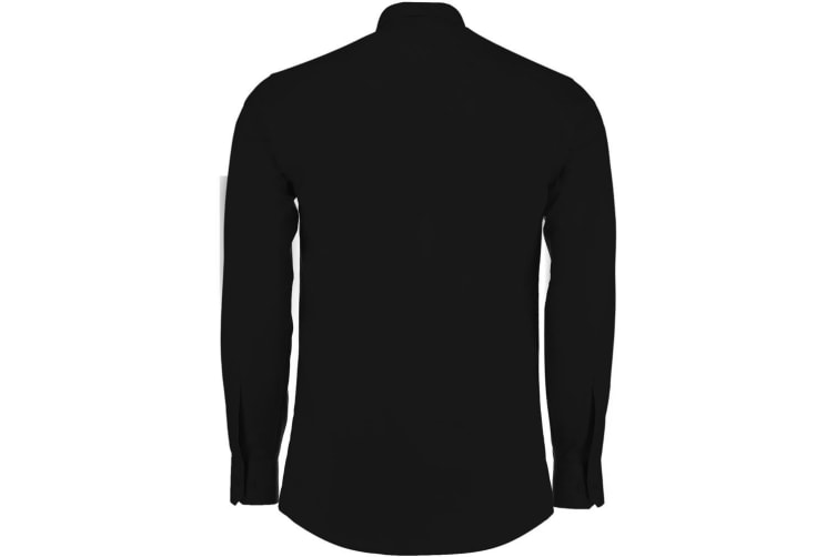 Kustom Kit Mens Long Sleeve Tailored Poplin Shirt (Black) (21)