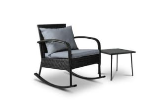 Gardeon Outdoor Furniture Rocking Chair Table Wicker Garden Patio Lounge Black