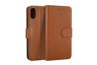 For iPhone XS X Wallet Case Elegant Fashion Cowhide Genuine Leather Cover Coffee