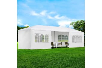 Gazebo 3x9m Outdoor Gazebos Marquee Tent Canopy Camping White