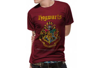 Harry Potter Unisex Adults Hogwarts Property Crest Design T-shirt (Red)