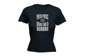 123T Funny Tee - Particle Physics Gives Me A Hadron - (Small Black Womens T Shirt)