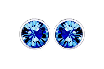 Elemental Studs V w/Swarovski Crystals-White Gold/Blue