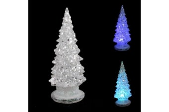 3x 15cm Christmas Tree w Flashing Lights Glitter Stand Home Party Decoration