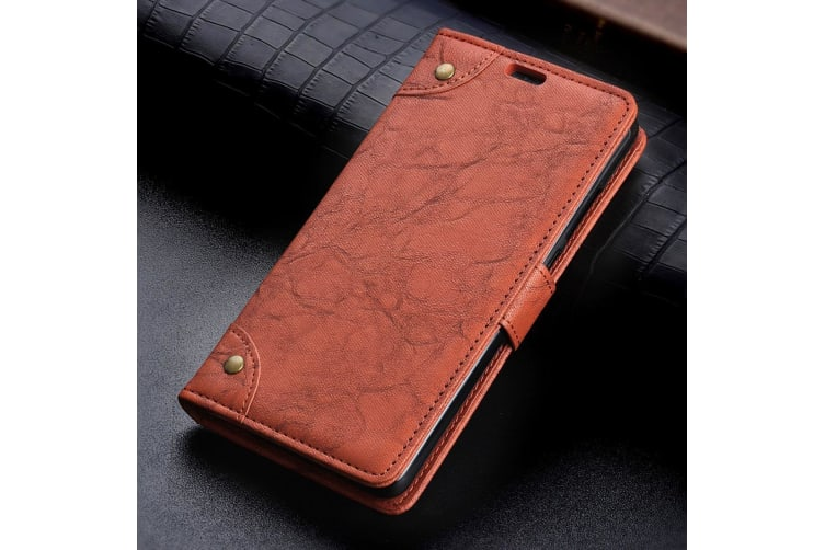 For Google Pixel 3XL Leather Wallet Case Brown Copper Buckle Horse Texture Cover