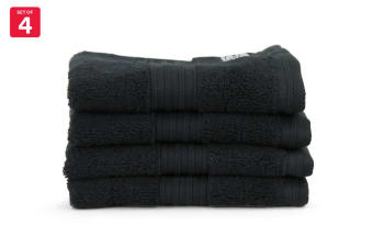 Onkaparinga Ultimate 100% Turkish Cotton Face Washer Set of 4 (Black)
