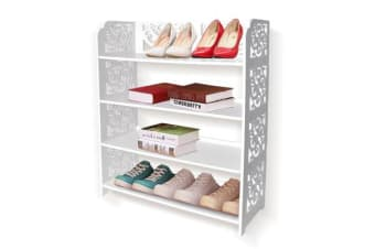 4 Tier White Chic Hollow Out Shoe Rack 40cm Wide