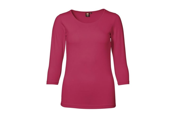 ID Womens/Ladies 3/4 Sleeve Stretch Fitted T-shirt (Cerise) (2XL)