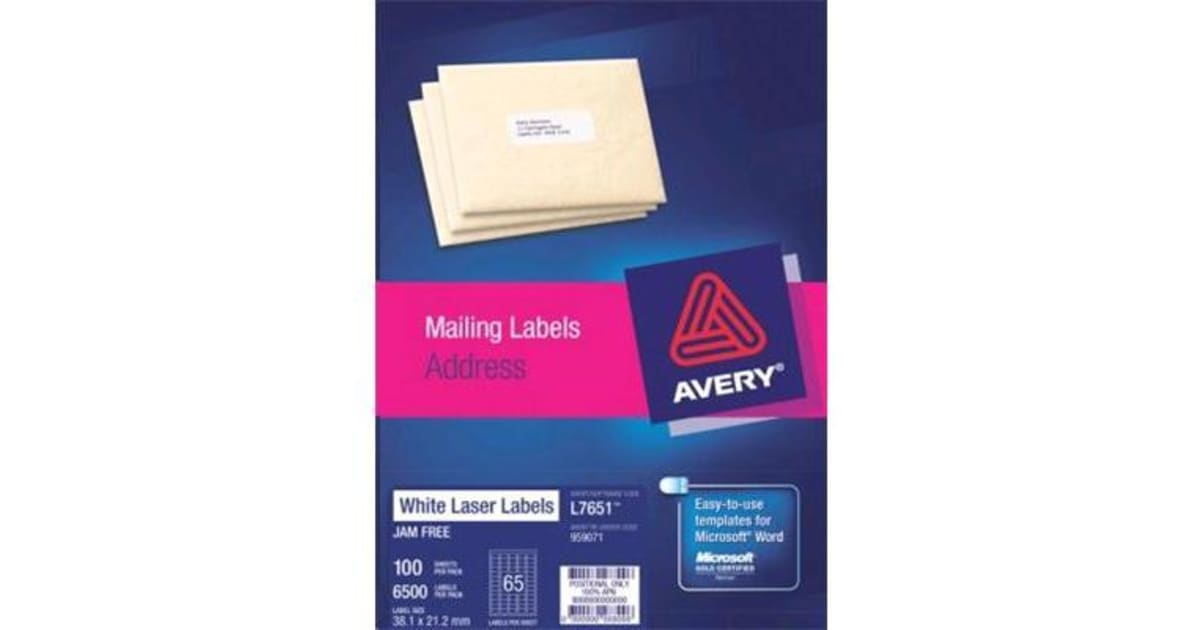 Dick Smith Avery L7651 100 White 381x212 100sht Printers