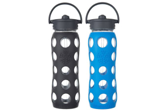 2pc Lifefactory 650ml Glass Bottle Straw Cap w  Silicone Grip Carbon Ocean Blue