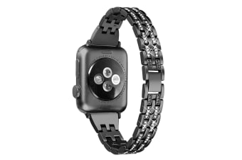 Compatible For Apple Watch Iwatch4 Stainless Steel Metal Five Beads Two Rows Of Diamond Strap,Replacement Strap-44mm-BLACK