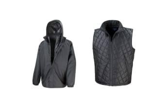 Result Mens Core 3-in-1 Jacket With Quilted Bodywarmer Jacket (Black) (M)