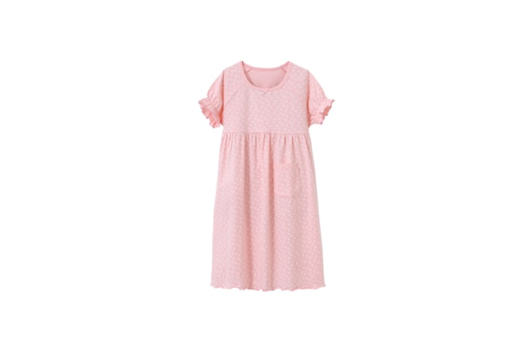 Girl'S Nightgowns Round Collar Sleepwear Cotton Princess Nightdress - Pink Pink 160Cm
