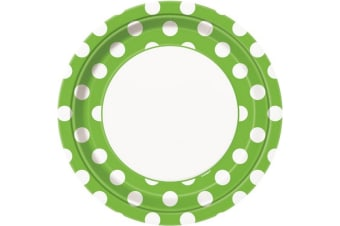 Unique Party Polka Dot Paper Plates (Pack Of 8) (Lime Green/White)