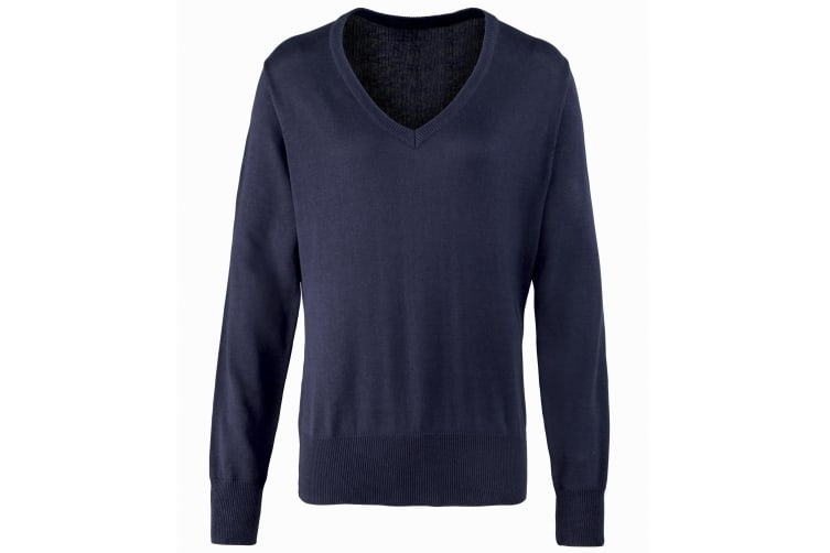 Premier Womens/Ladies V-Neck Knitted Sweater / Top (Navy) (24)