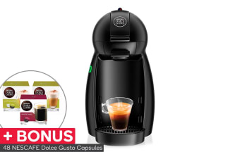 NESCAFE Dolce Gusto Piccolini Capsule Coffee Machine with BONUS 48 Capsules - Matte Black (NCU150MTB)