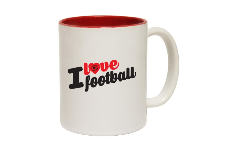 123T Funny Mugs - I Love Football - Red Coffee Cup