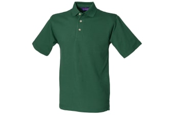 Henbury Mens Classic Plain Polo Shirt With Stand Up Collar (Bottle)