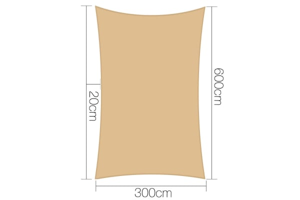 Heavy Duty Rectangle Shade Sail Canopy 3 x 6m (Sand/Beige)
