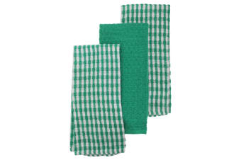 Thin Check Pattern Tea Towel Set (Pack Of 3) (White/Green) (One Size)
