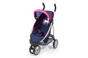 Bayer 69cm Pram/Doll Stroller Jogger Navy w/Pink Hearts & Unicorn Kids Toy 3y+