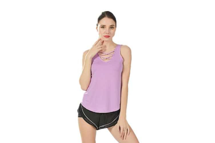 Women Stretchy Hollow Out Vest Camisole Sleeveless T Shirt Purple L